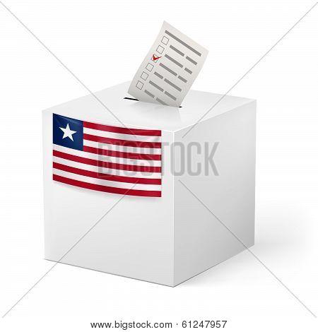 Ballot box with voting paper. Liberia