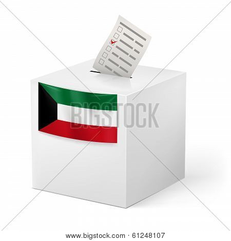 Ballot box with voting paper. Kuwait