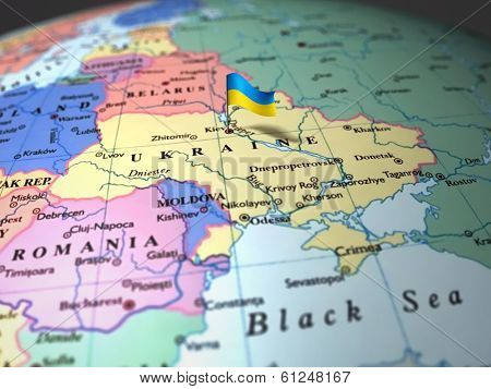map of Ukraine in focus