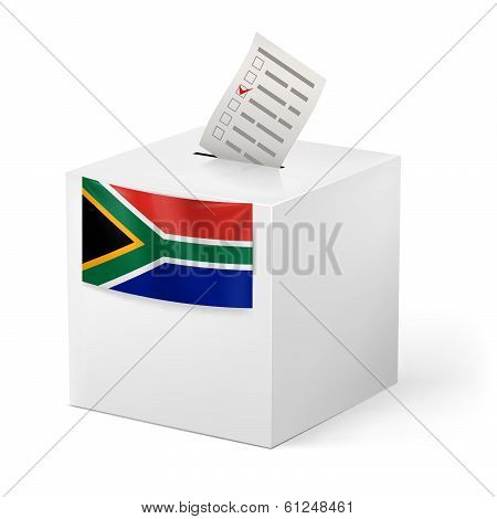 Ballot box with voting paper. South Africa