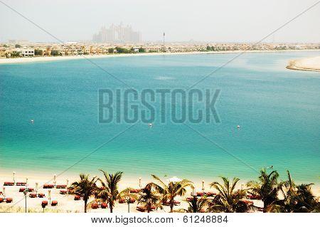 The Beach At Luxury Hotel On Palm Jumeirah Man-made Island, Dubai, Uae