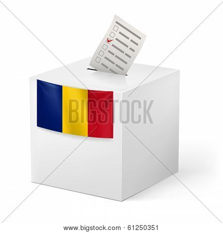 Ballot box with voting paper. Chad