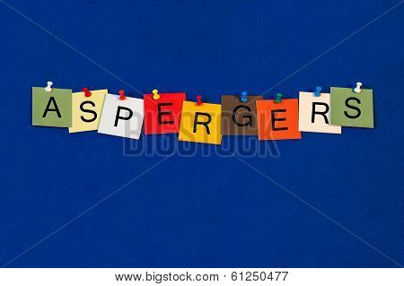 Aspergers, Sign Series For Asperger's Syndrome, Autism Spectrum.