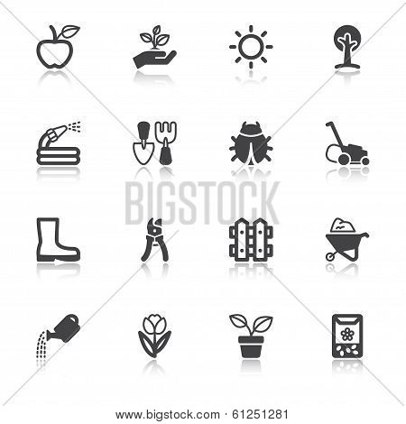 Gardening Flat Icons With Reflection