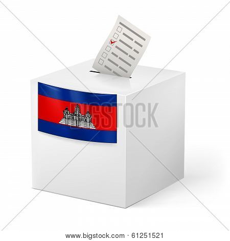 Ballot box with voting paper. Cambodia