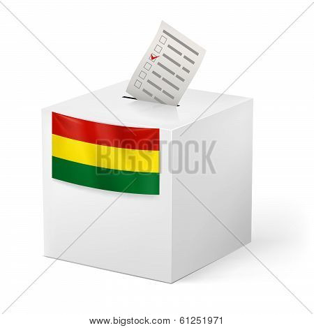 Ballot box with voting paper. Bolivia