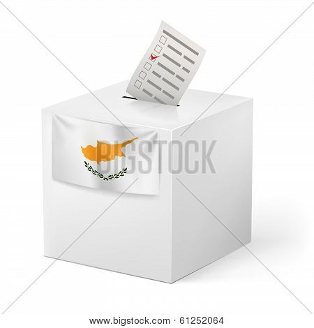 Ballot box with voting paper. Cyprus