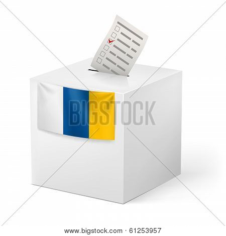 Ballot box with voting paper. Canary Islands