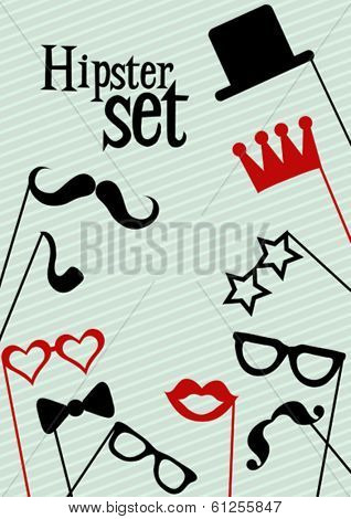 Hipster greeting card, vector illustration