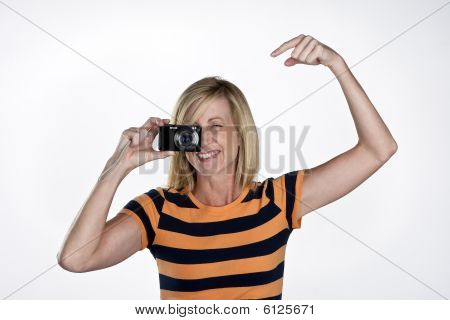 Model With Point And Shoot Camera