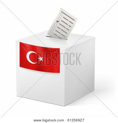Ballot box with voicing paper. Turkey