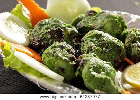 Hariyali kabab is a Punjabi style chicken tikka