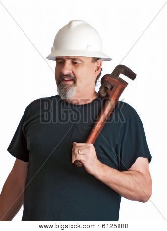 Plumber Going To The Work-site.
