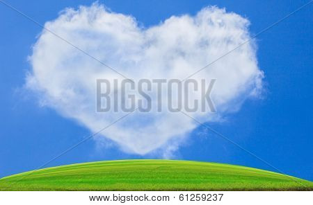 green grass field against blue sky and white clouds heart shape use for nature background backdrop c