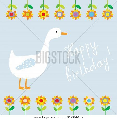 Birthday funny card for child with flowers