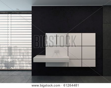 black bathroom with white modern washbowl