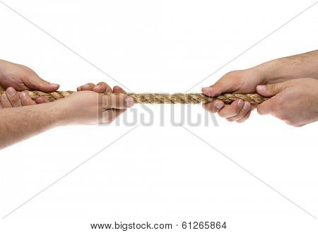 Hands gripping piece of rope on white background