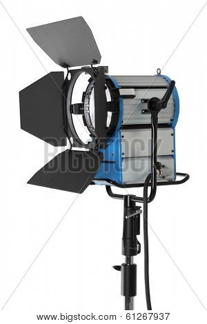 HMI fresnel movie light isolated on white background