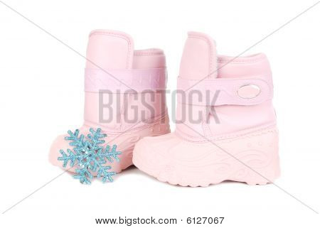 Pink Children Snow Boots And Snowflake
