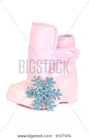 Pink Children Snow Boot And Snowflake
