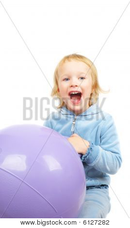 Girl And Fitnes Ball.