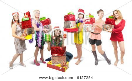 Girls With Christmas Gifts