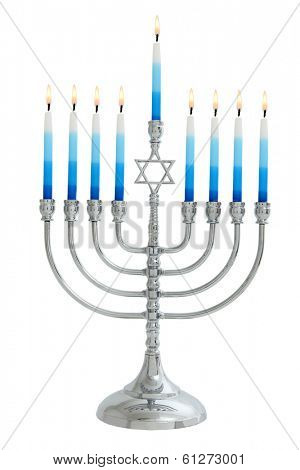 Chanukah Menorah cutout on white background