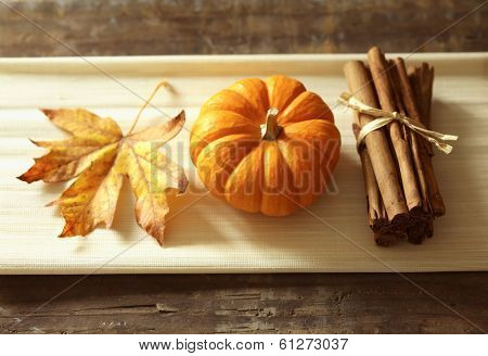 Fall still life pumpkin spice