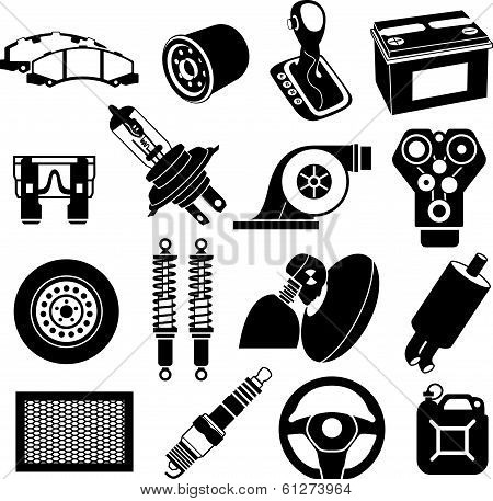 Car Service Icons Black