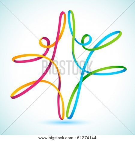 Colorful Swirly figures dancing