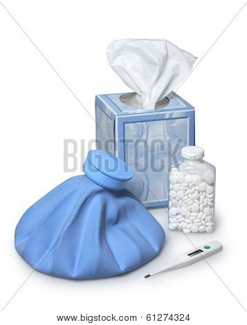 medical still life with thermometer, tissues, asirin, and hot water pack on white