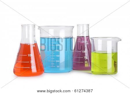 Laboratory glassware with colorful liquids, cut out on white background