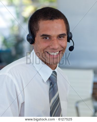 Attractive Businessman Working In A Call Center