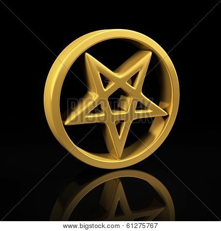 Gold Pentagram On Black