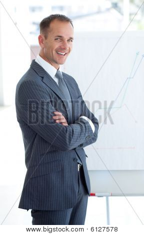 Mature Businessman Reporting To Sales Figures