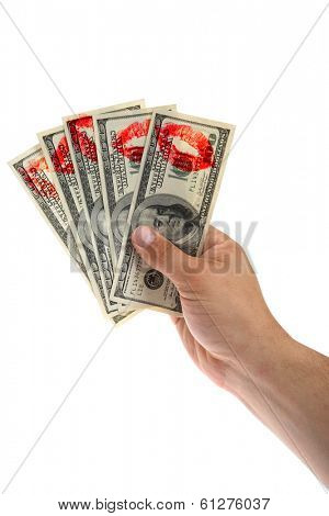 Hundred dollar bills held in hand with lipstick prints on white background
