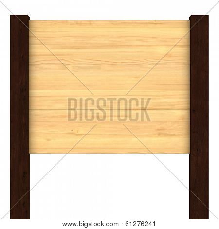 wooden signboard on white. Isolated 3D image