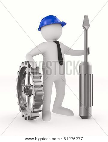 Man with screw driver on white background. Isolated 3D image