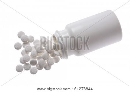 white pill bottle of aspirin on white background