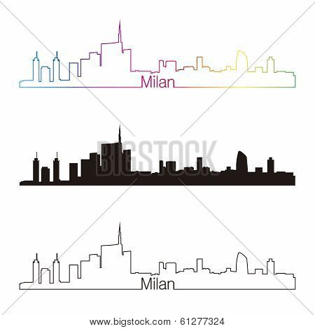 Milan Skyline Linear Style With Rainbow