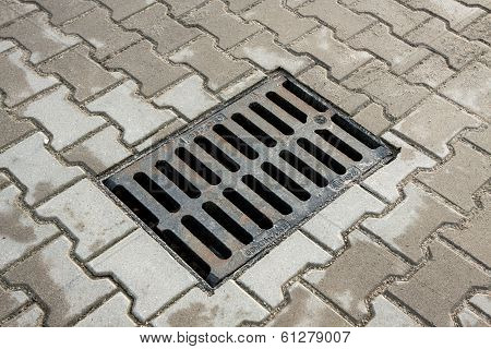 sewer drain on the sidewalk