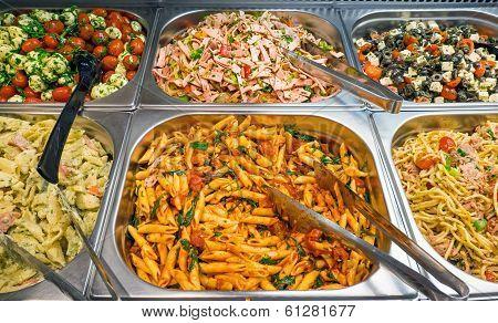 Different salads at a buffet