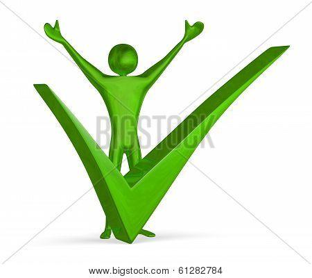 Triumphant Green 3D Man Near Big Tick