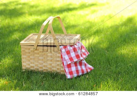 Picnic basket in grass