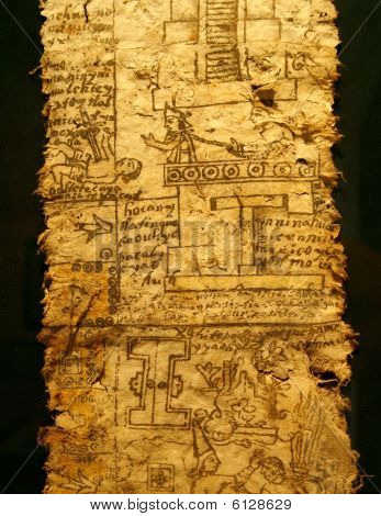 eine Seite des Codex. Aztekisches Reich, Herrschaft des Kaisers