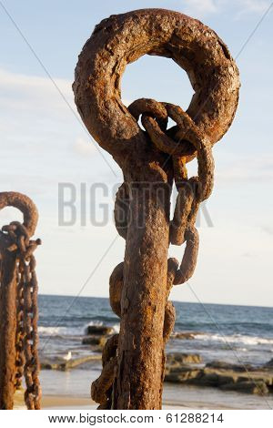 Rusty Old Post and Chain