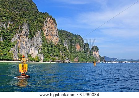 Yellow Floats Near Khao Phing Kanu Islands In Thailand Known As James Bond Island