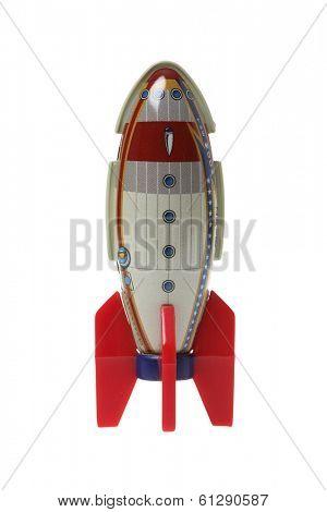 rocket metal toy on white