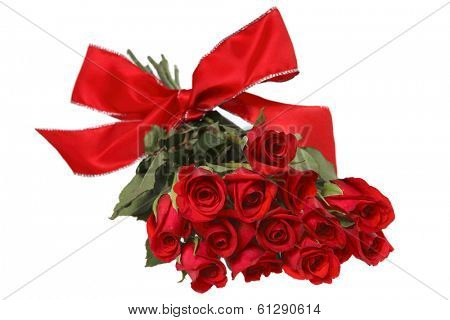 dozen red roses with red bow on white