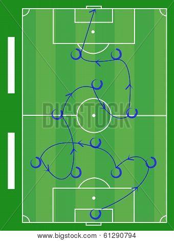 Soccer Play Diagram Instruction Illustration